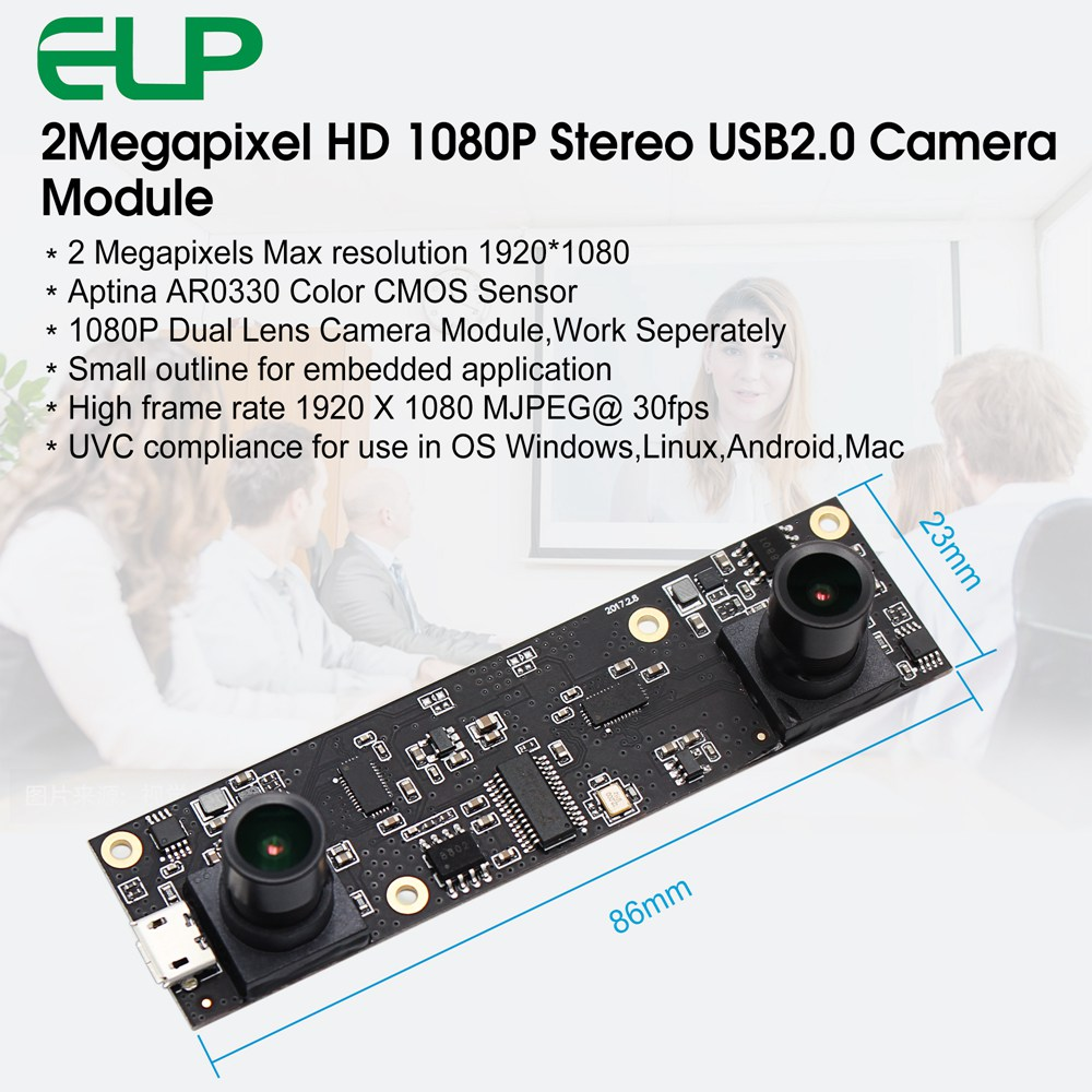 ELP 2MP 1080P AR0330 MJPEG 30fps mini webcam Dual