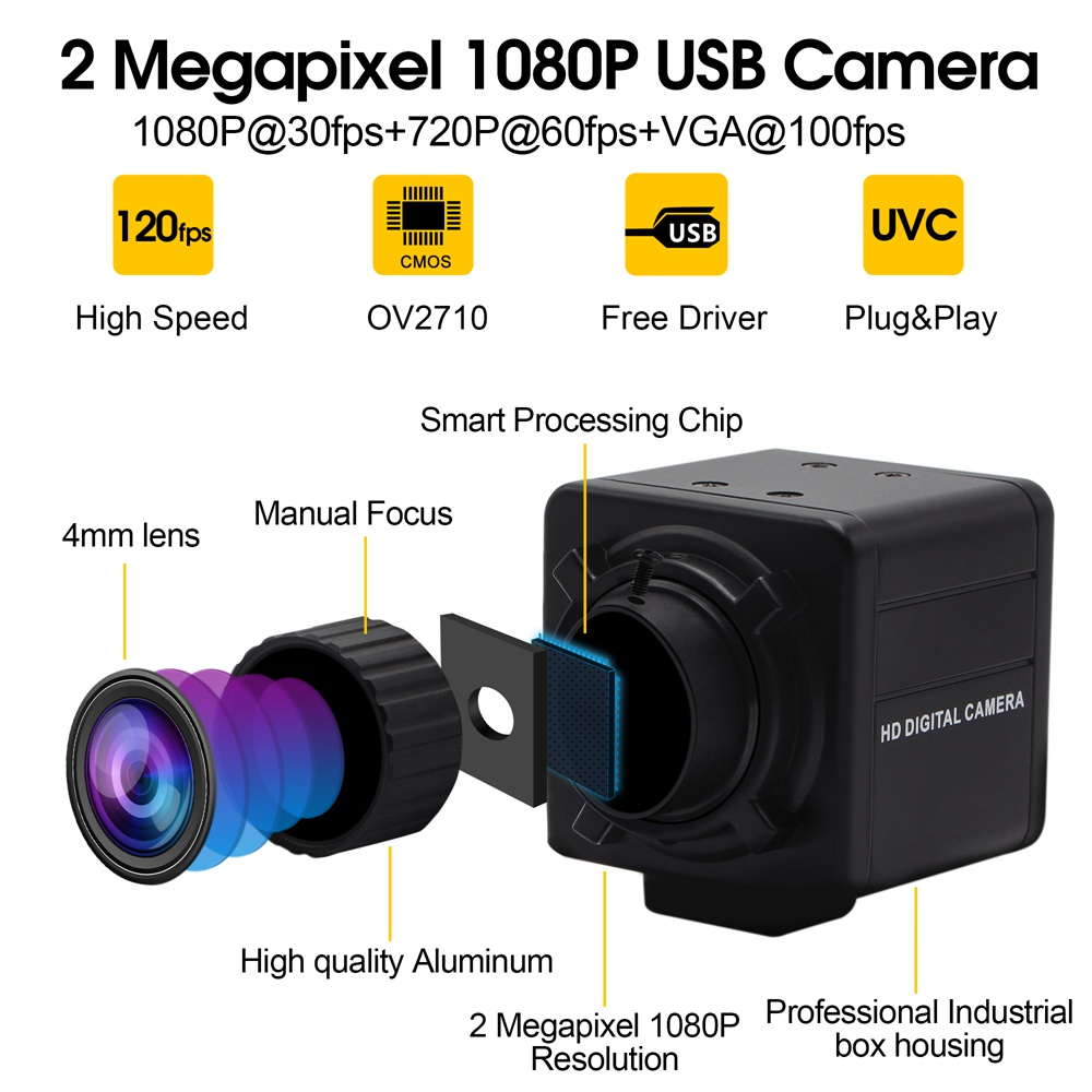 Industrial 1080P hd 30fps /60fps/120fps high speed Cmos ov