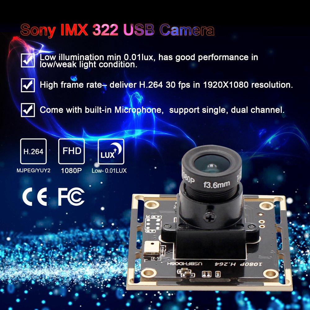 ELP 2MP H 264 SONY IMX322 0 01LUX USB Camera Low illumination ELP