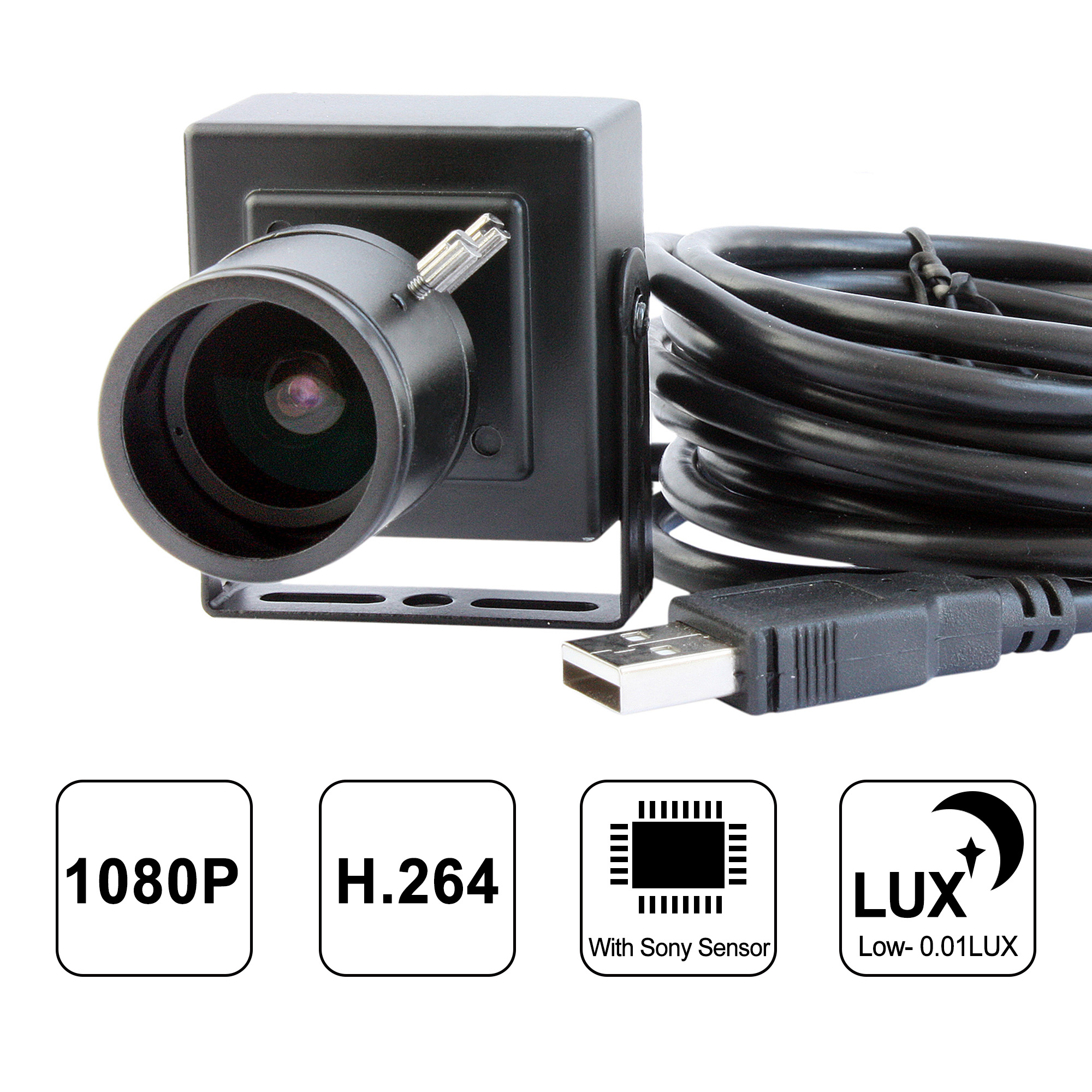 ELP H.264 1080P Low Illumination 0.01Lux Sony IMX322 OTG Inspection USB Camera Module With CCTV Varifocal Manual Focus 2.8-12mm Lens