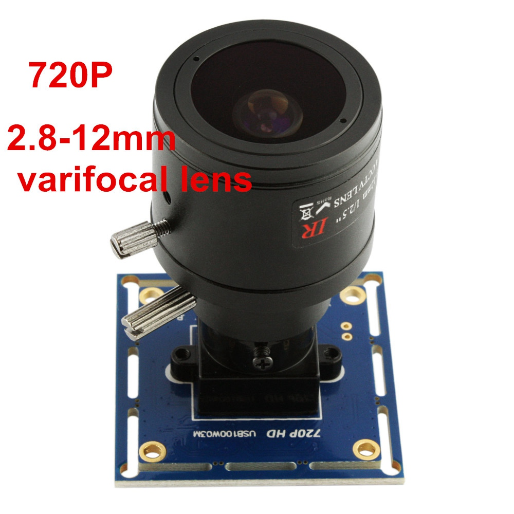 ELP Mini M12 2.8-12mm Varifocal Lens 30fps 720P OV9712 HD Color Sensor Zoom USB Webcam Manual Focus For Medical Endoscope