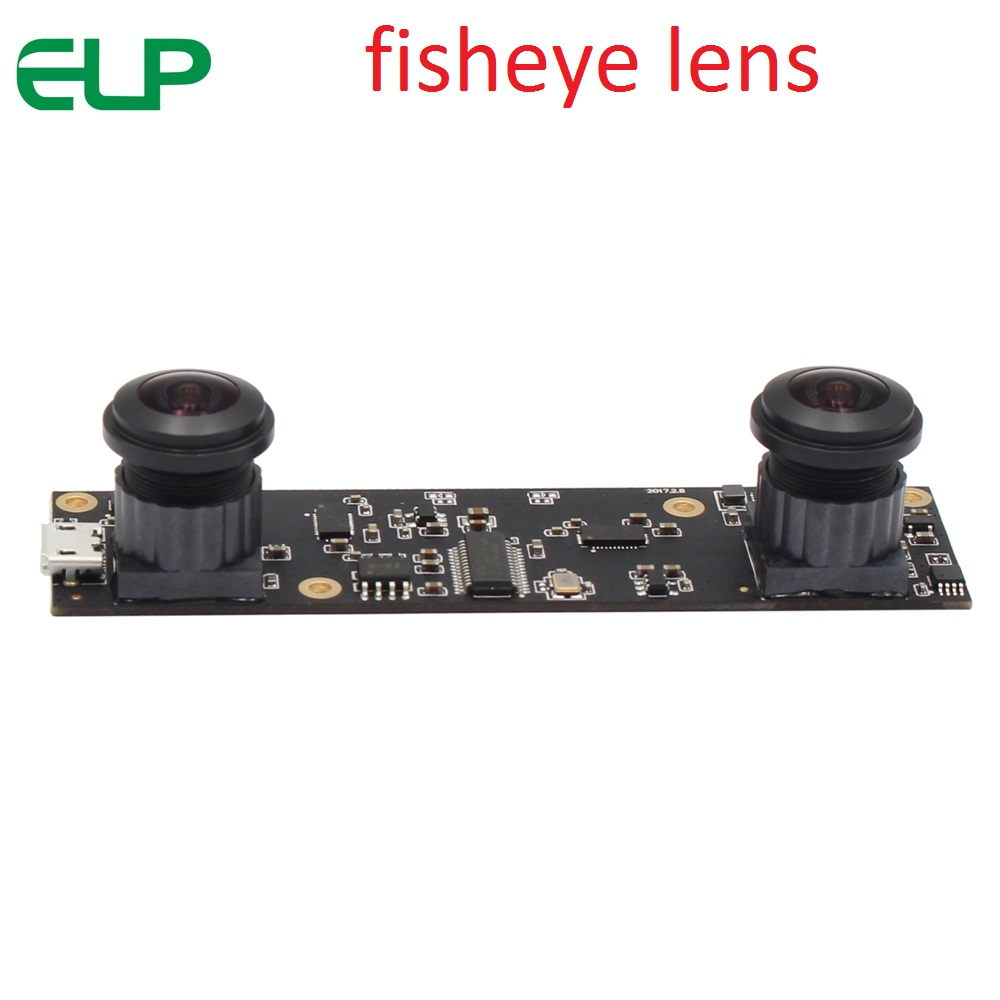 ELP 180 degree Fisheye 2MP 1080P Stereo Webcam OTG UVC Plug Play Driverless Dual Lens USB Camera Module for 3D Video VR Virtual Reality