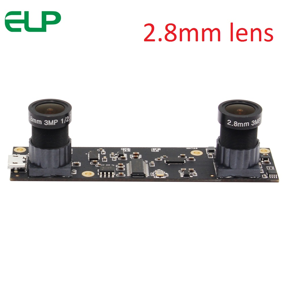 ELP 2.8mm Full HD 1920x1080 mjpeg 30fps Camera USB Aptina AR0330 Dual Lens USB Webcam Module for Windows Android Linux MAC With UVC