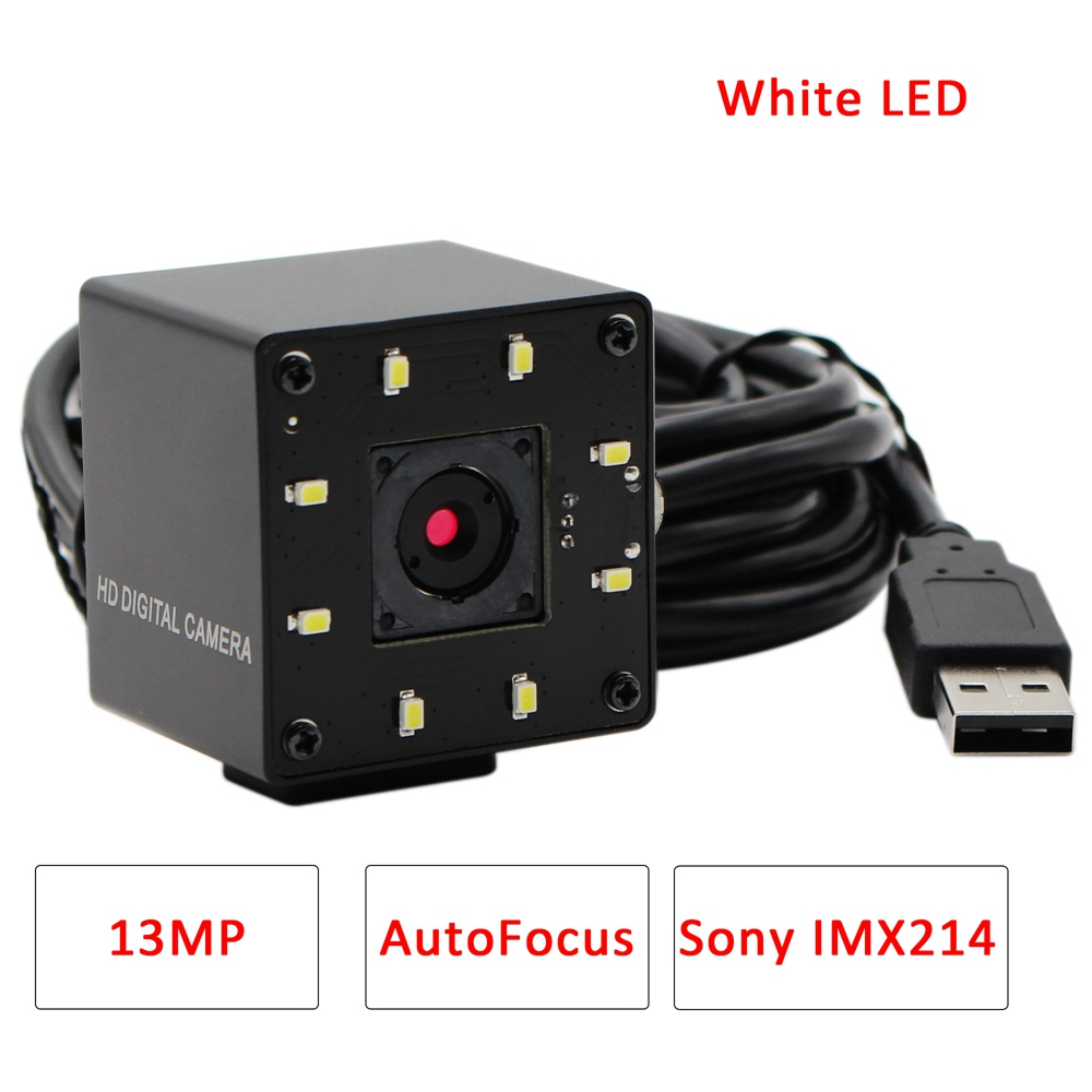 ELP 13MP MJPEG 10fps 3840x2880 Sony IMX214 Autofocus USB Camera White LED for Day& Night