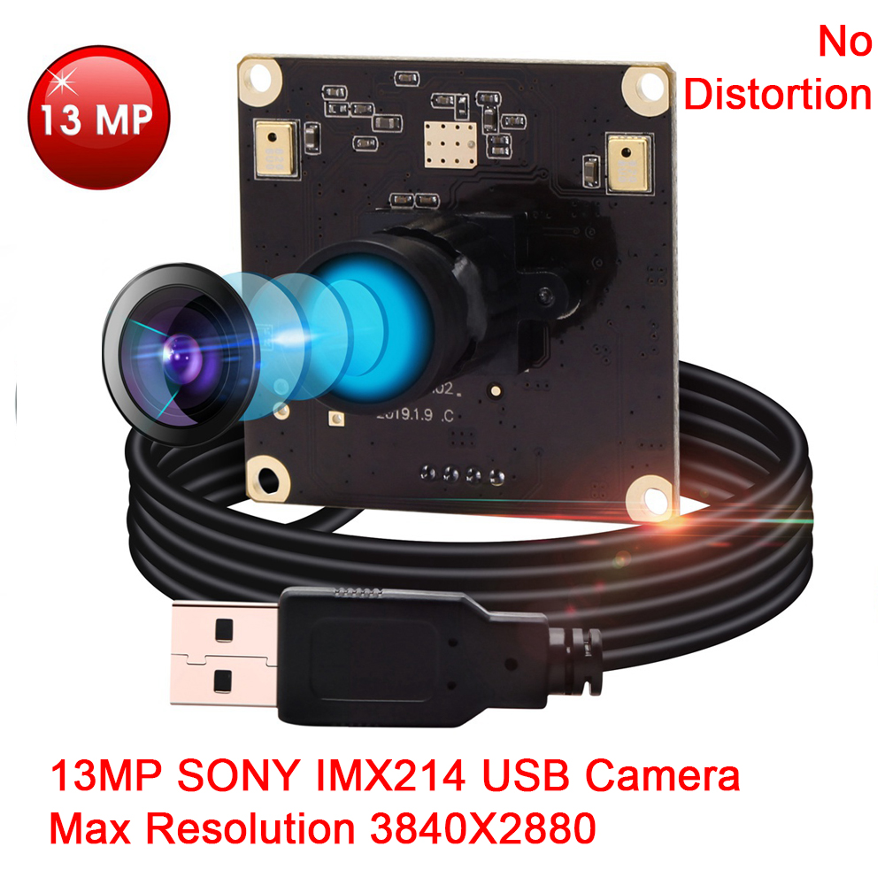 ELP New 13MP 3840X2880 Fixed focus Webcam Undistortion Lens IMX214 Camera USB2.0 HD With inbuilt MIC For microphotography