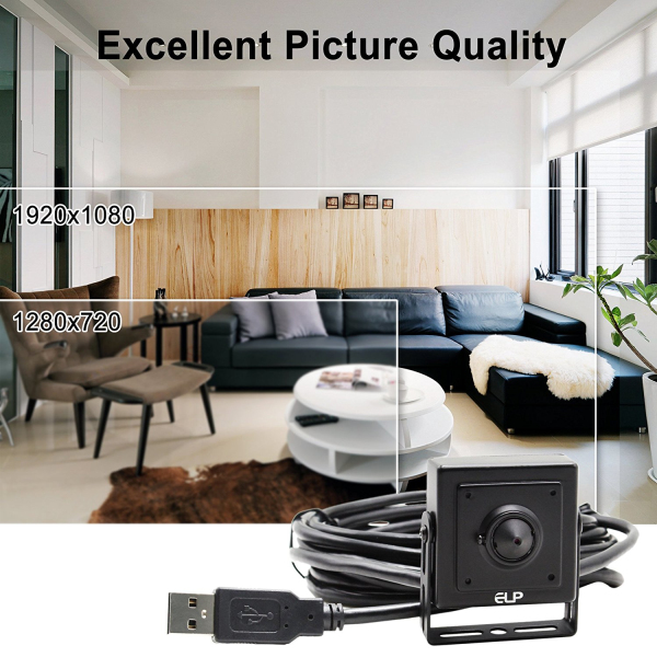 ELP USB Security Camera Low Light 1080P Sony IMX322 HD Sensor H.264 Voice Recording Pinhole Spy Camera For Video Conference