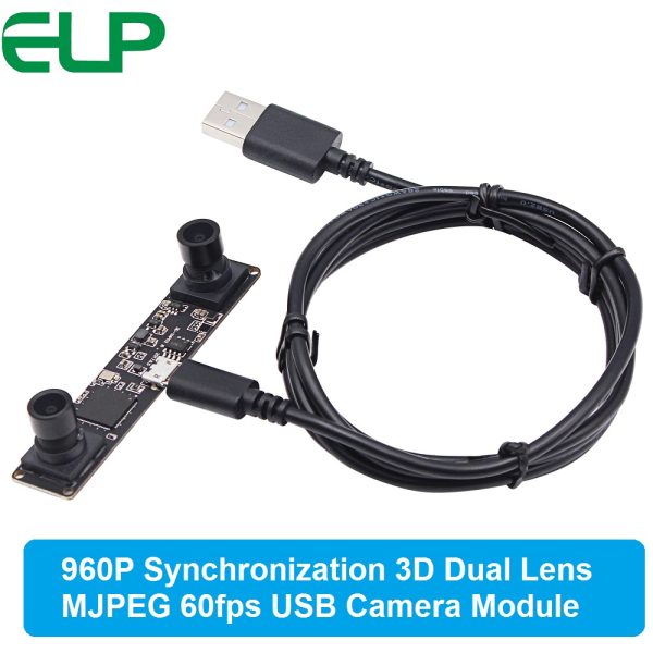 ELP 960P HD OV9750 High frame rate MJPEG 60fps UVC OTG Stereo Webcam dual lens