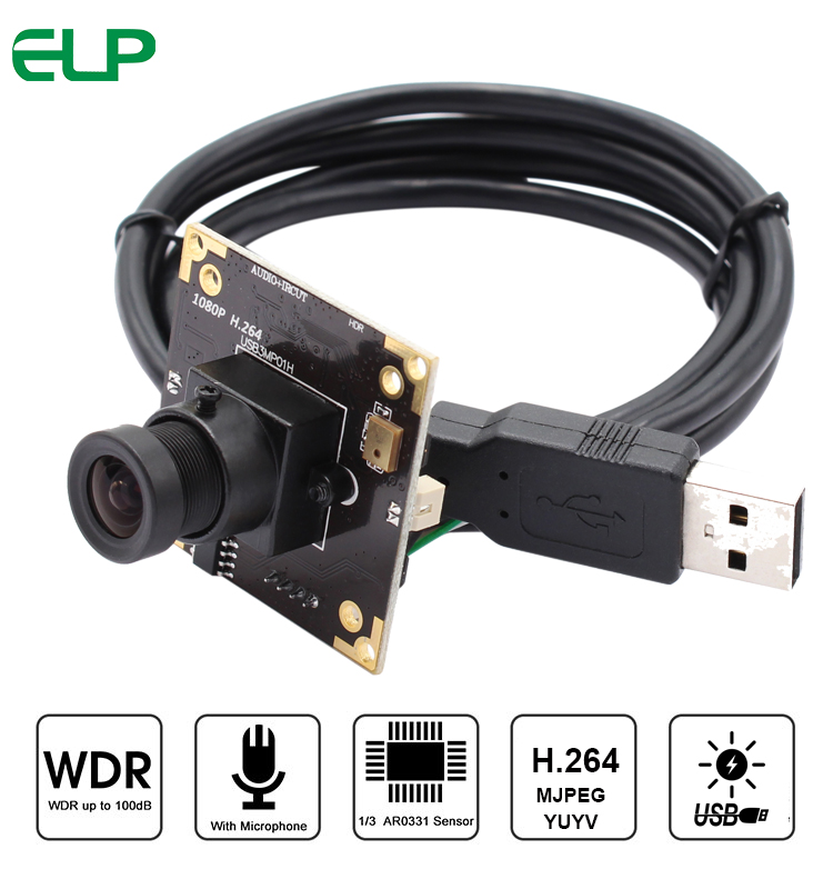 ELP Wide Dynamic 100dB H.264/MJPEG/YUY2 30fps HD MICRON AR0331 CMOS Sensor USB2.0 Security Camera CCTV With Microphone
