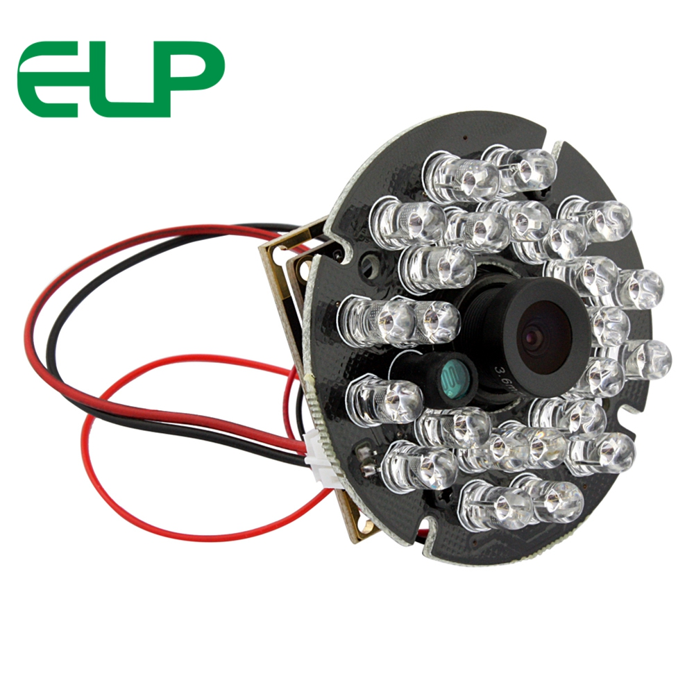 ELP Night Vision USB Camera Module With 24pcs IR Leds H.264 3megapixels Mini CCTV Webcam USB2.0 Support H.264