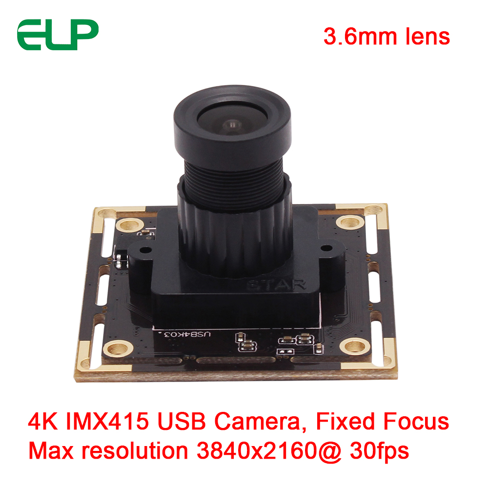 ELP 3.6mm lens High resolution 4K 3840x2160 Sony IMX317 UVC Driver Mini USB Camera module Mjpeg 30fps Webcam Support audio