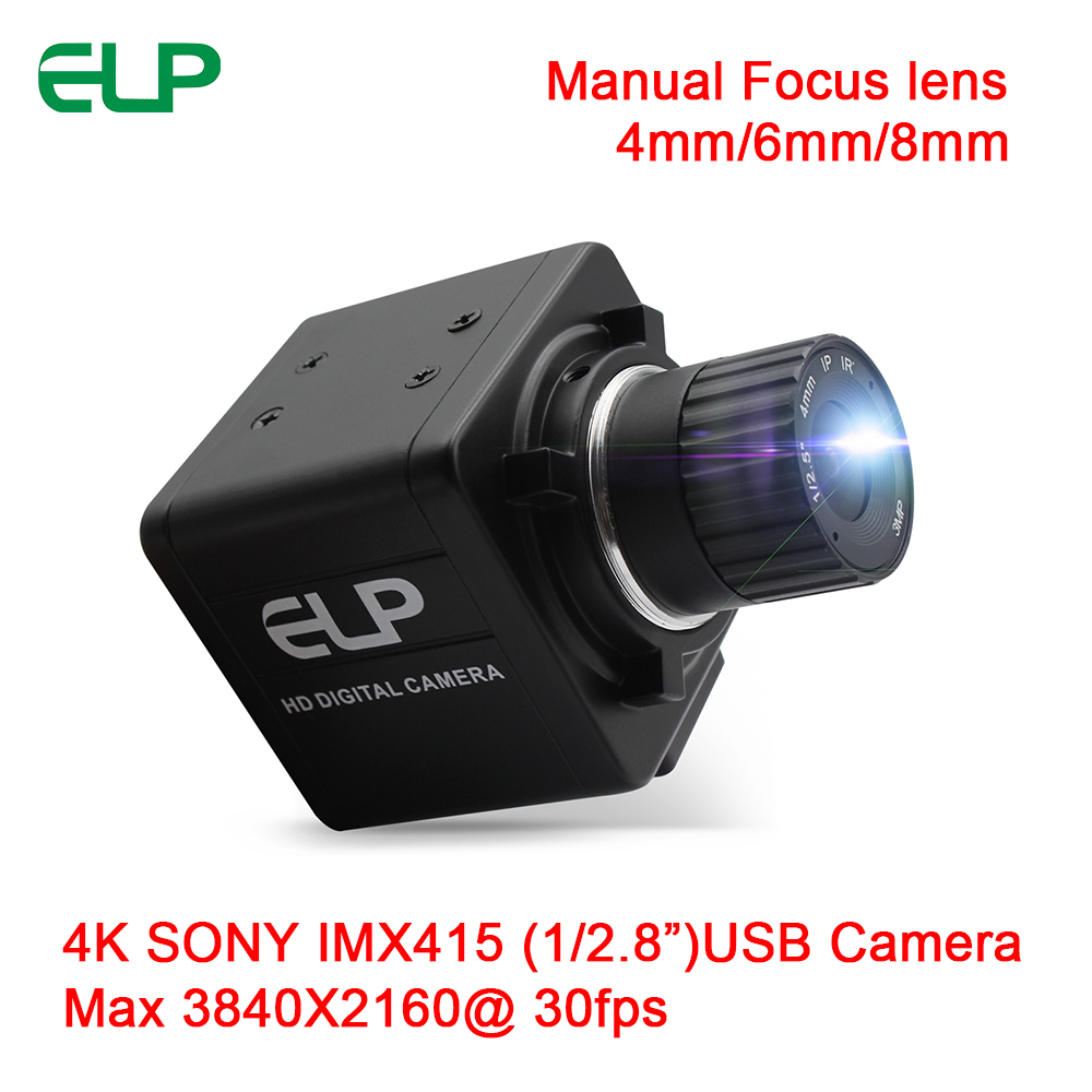 "ELP Manaul Focus Sony IMX415(1/2.8"") FHD Webcam 4K 30fps 3840x2160 High Definition USB2.0 Camera With Fixed Focal length 4mm/6mm/8mm"