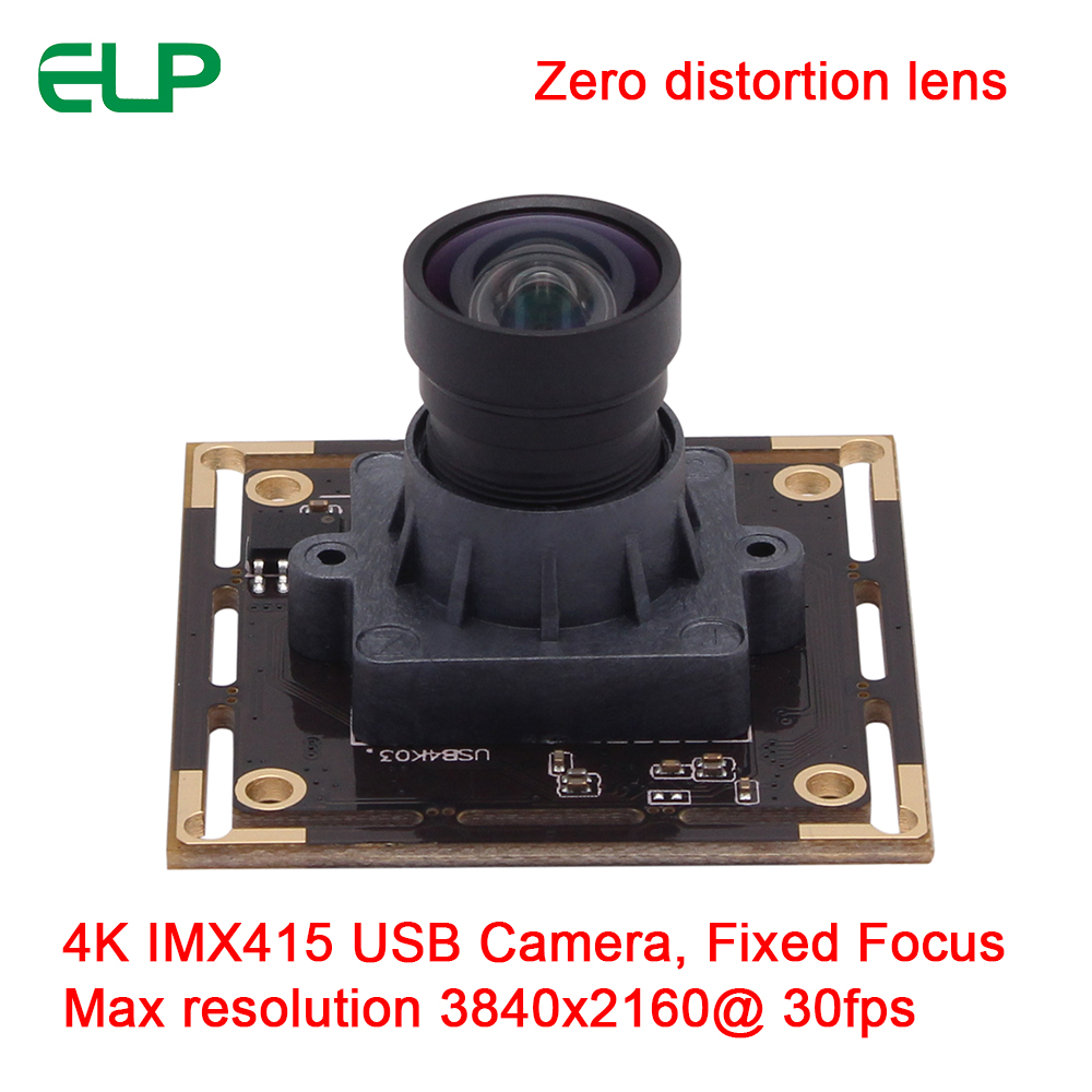 ELP Fixed Focus 100degree None Distortion Lens 4K Resolution HD 3840x2160@30fps CMOS Sony IMX415 Camera Module USB2.0 For 3D Scanning