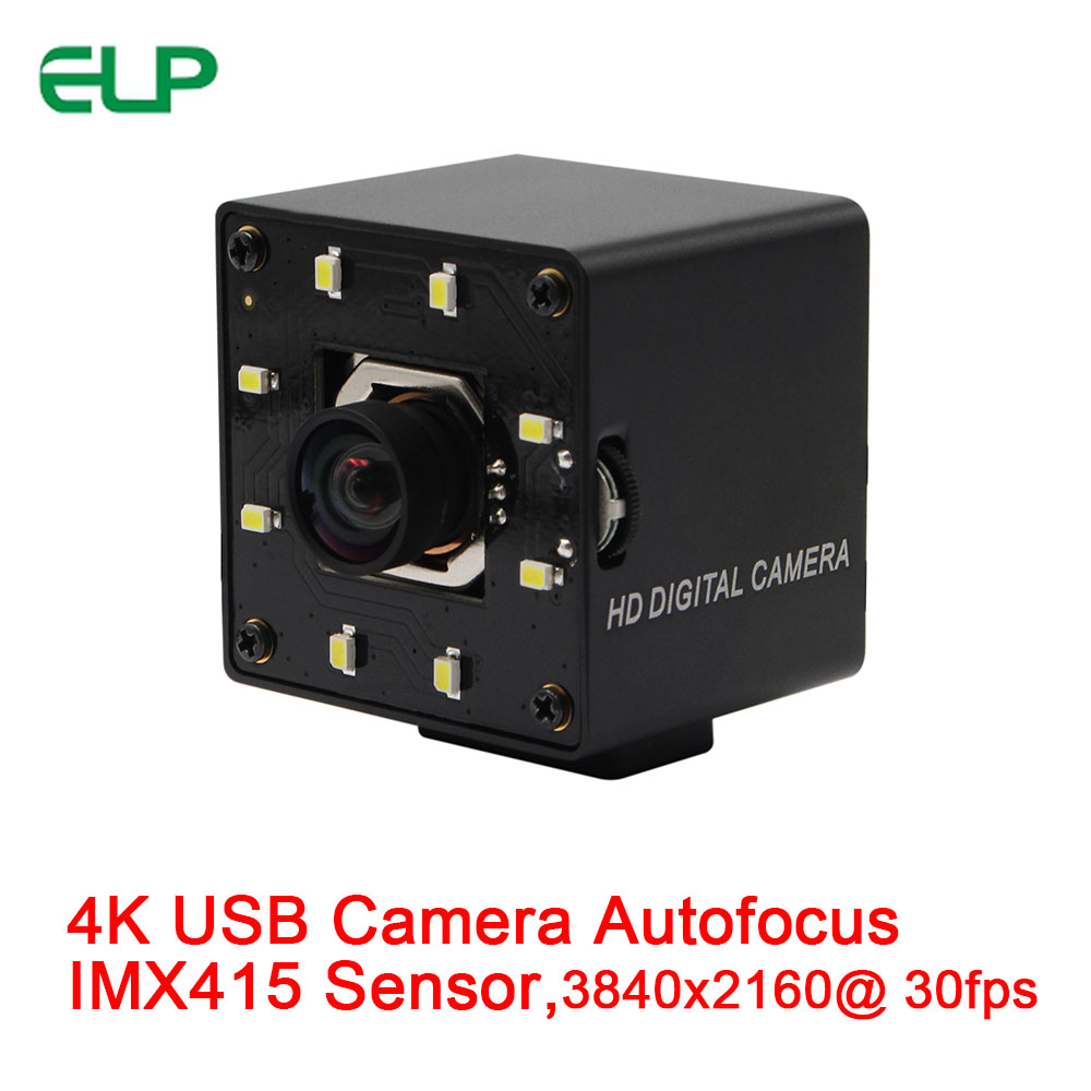 ELP USB Webcam 4K 3840x2160 Autofocus Day and Night No distortion CMOS Sony IMX415 HD USB Camera with White LEDS
