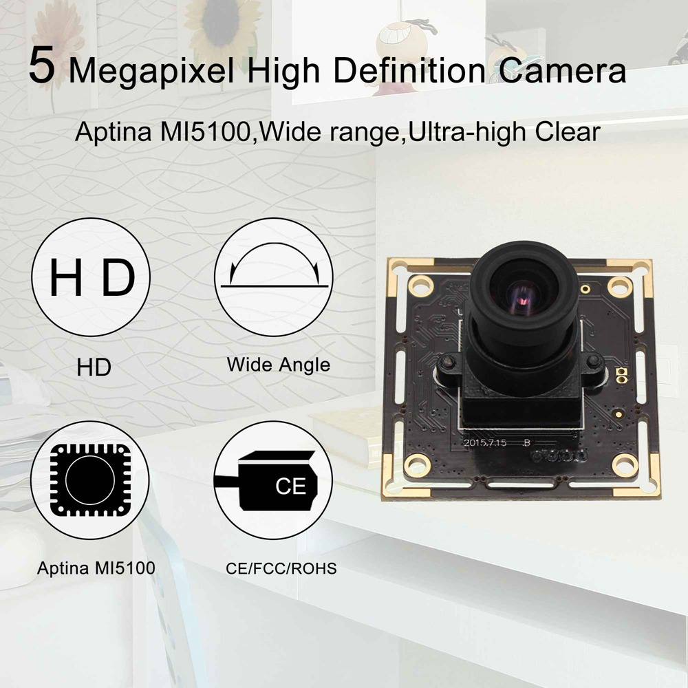 ELP 5mp camera module usb 2.0 High Speed Aptina MI5100 HD MJPEG 30fps at 1080P UVC Usb Cmos Camera Module for Android Modile(3.6mm lens)