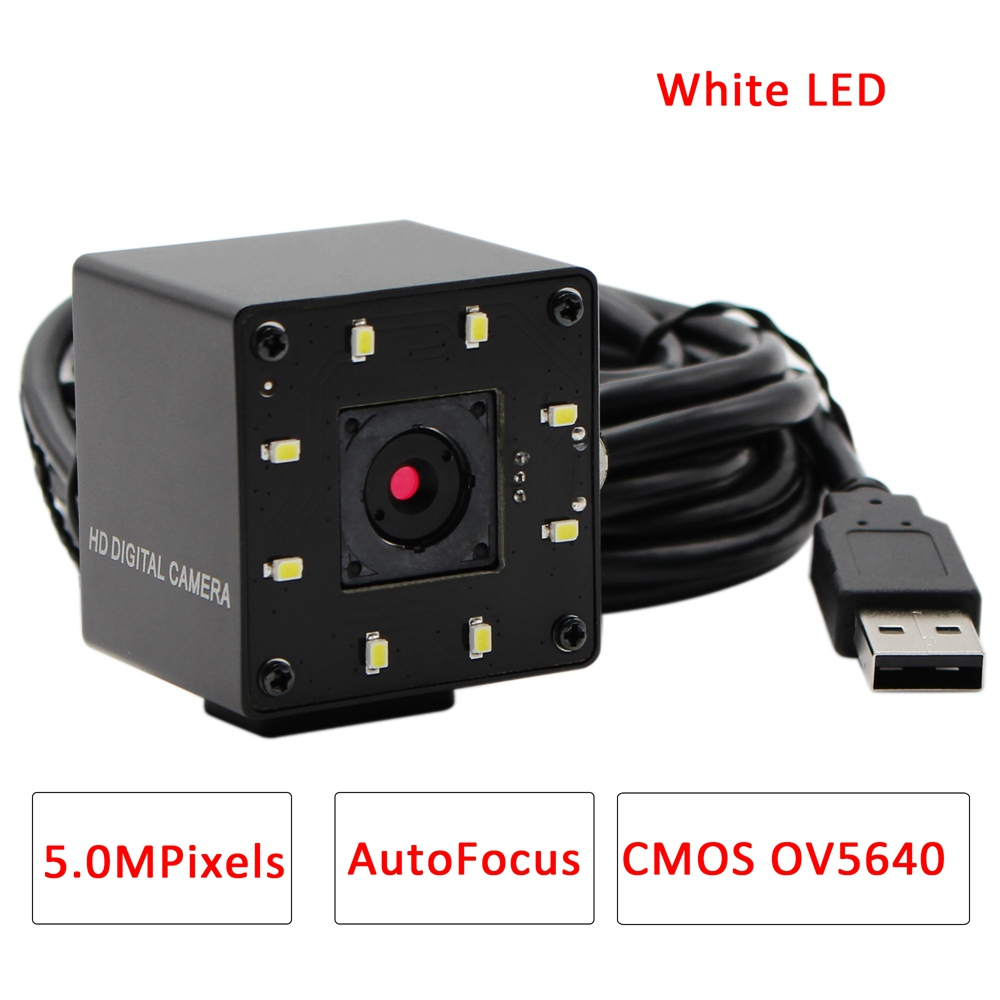 ELP Night Vision Webcam 5Megapixel 2592*1944 Autofocus CMOS OV5640 USB Webcam Camera with White LED