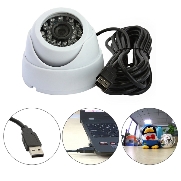 ELP 1.0megapixel Night Vision HD USB2.0 small infrared usb camera for home security (Dome Plastic Housing )