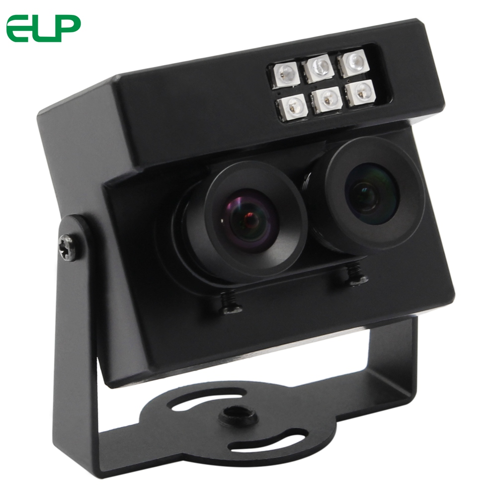 ELP Face Recognition &Biological Detection Dual Lens USB Camera RGB & IR Dual Output AR0230 Sensor WDR 105dB Webcam With LED IR