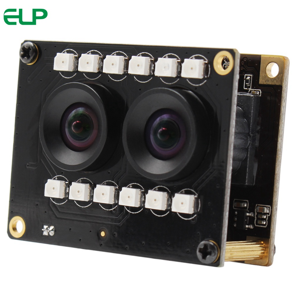 ELP Dual Lens 1080P 3D Stereo VR HD Camera,Night Vision USB2.0 Video Webcam hd 1080p for Face Recognition & Biological Detection