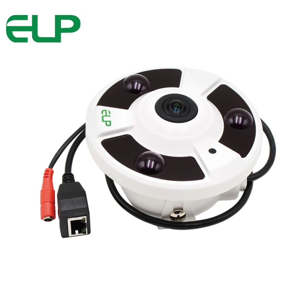 ELP CCTV HD 1080P IP Camera 2.0 Megapixel Fisheye Lens Panorama View 360 Degree Panoramic 2MP Video Camera IR Night Vision Onvif