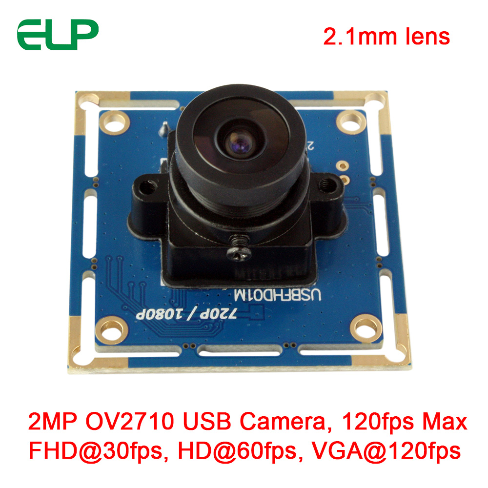 ELP High Speed 120fps PCB USB2.0 Webcam Board 2 Mega Pixels 1080P OV2710 CMOS Camera Module With 2.1mm Lens ELP-USBFHD01M-L21