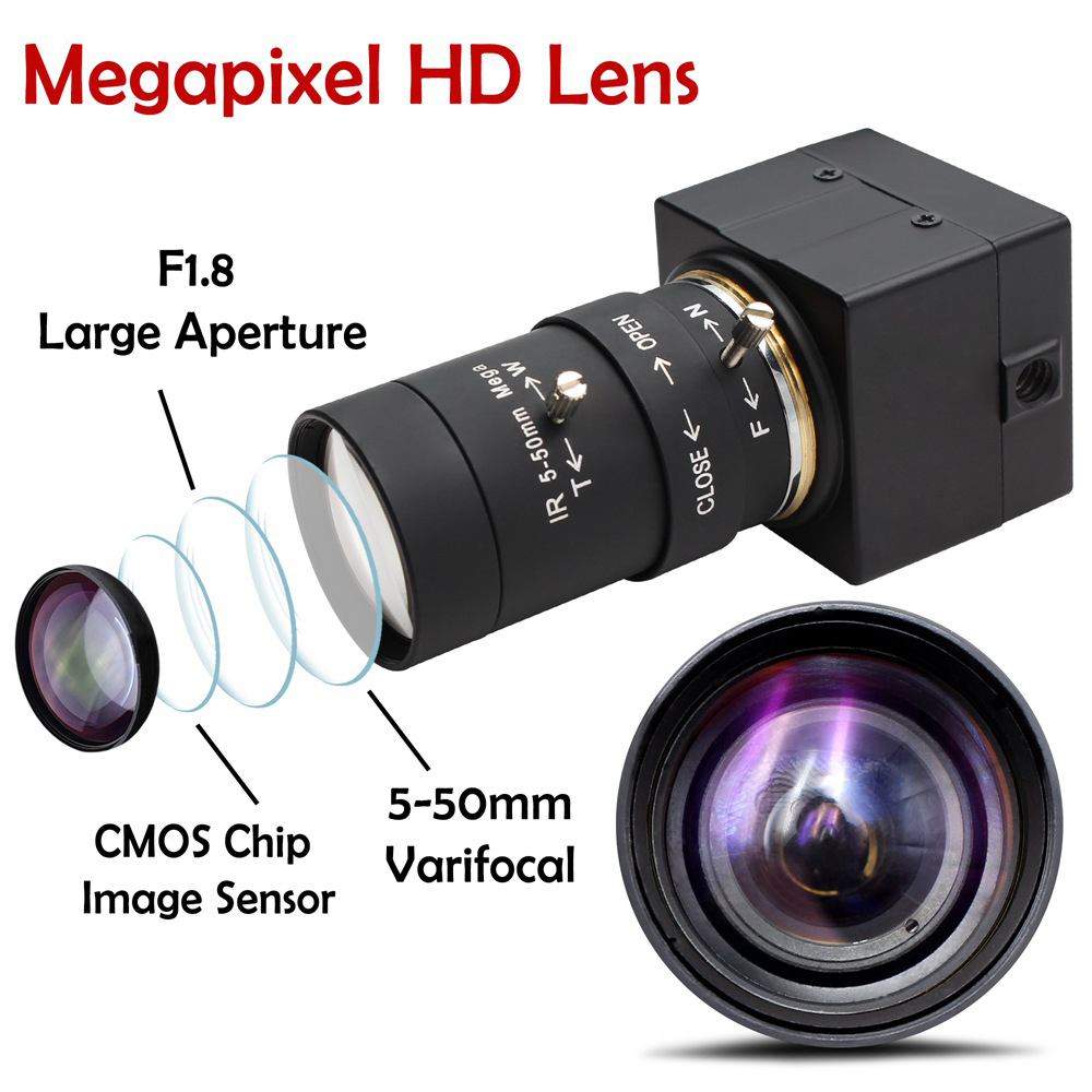 ELP 120fps USB Camera 5-50mm Varifocal Manual Focus Lens, 2MP 1080P CMOS OV2710 HD Webcam Free Driver