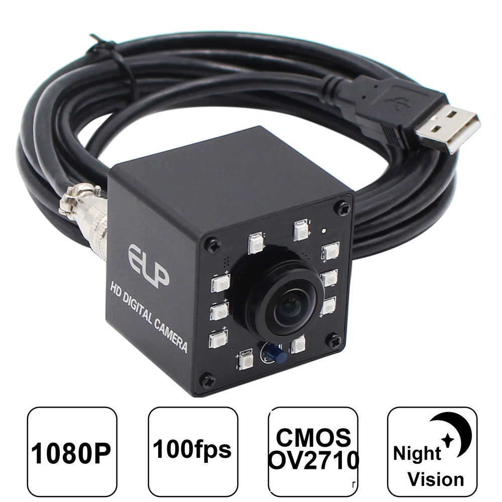 ELP USB2.0/1.1 Full HD 360 Degrees Camera Video 10 LED Night Vision Free Driver Webcam Camera Web Cam For PC Laptop
