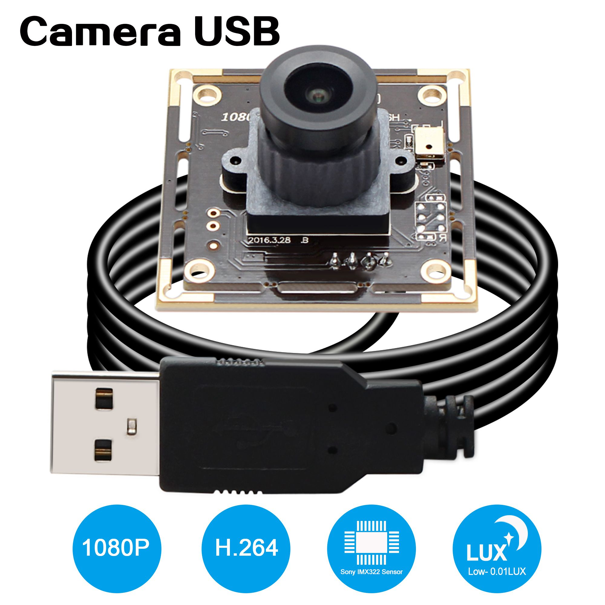 ELP Surveillance Camera 2Megapixel 1080P Sony IMX322 CMOS H.264 USB Camera 2.1mm wide angle lens Low illumination video camera