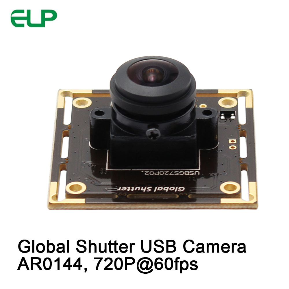 ELP Fisheye Global Shutter USB Camera Aptina AR0144 MJPEG 60fps 1280*720 Monochrome USB Plug n Play Web Cam, Widescreen Video