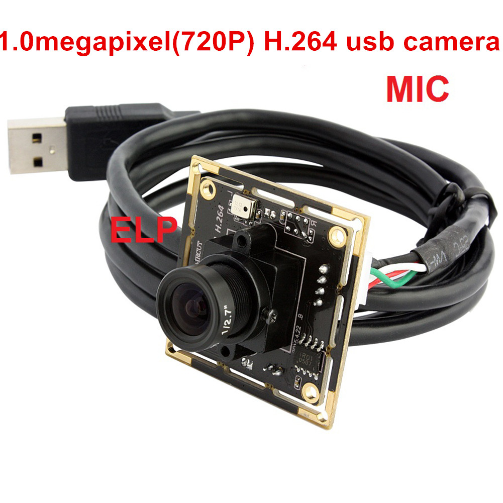 ELP H264 HD 720P USB Camera Module USB2.0 OV9712 Color Sensor Webcam with Digital audio 3.6MM Lens