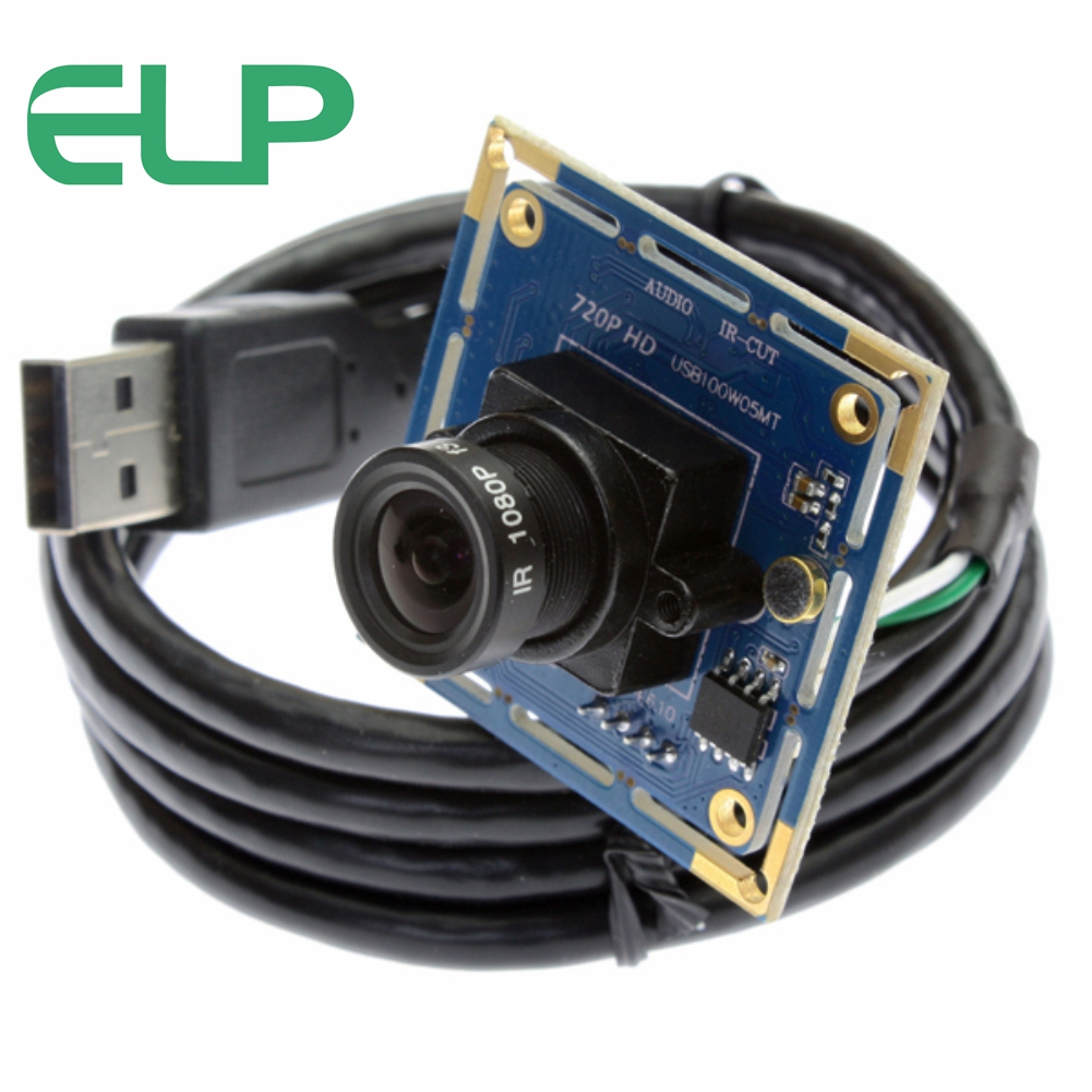 ELP High Speed USB2.0 1.0Megapixels 30fps Audio Recording CMOS HD Camera Module 720P With Microphone