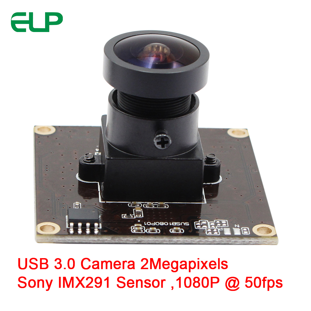 ELP 2.0 Megapixel Sony IMX291 High Speed USB 3.0 Webcam Fisheye Wide View Angle MJPEG YUY2 50fps 1080P USB3 Camera Module