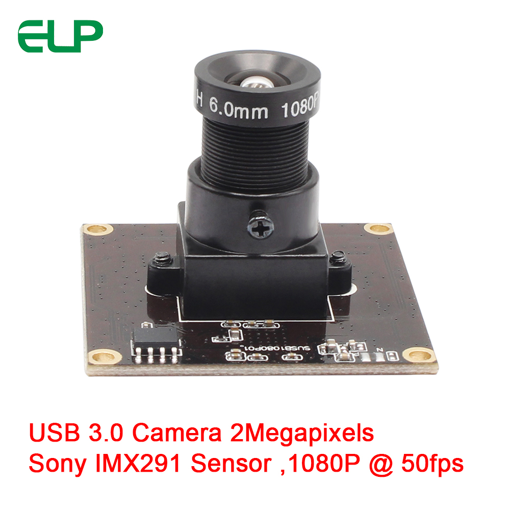 ELP Driver Free USB3.0 Webcam 2MegaPixels MJPEG YUYV 50fps 1080P USB 3.0 Board camera With Sony IMX291 Sensor