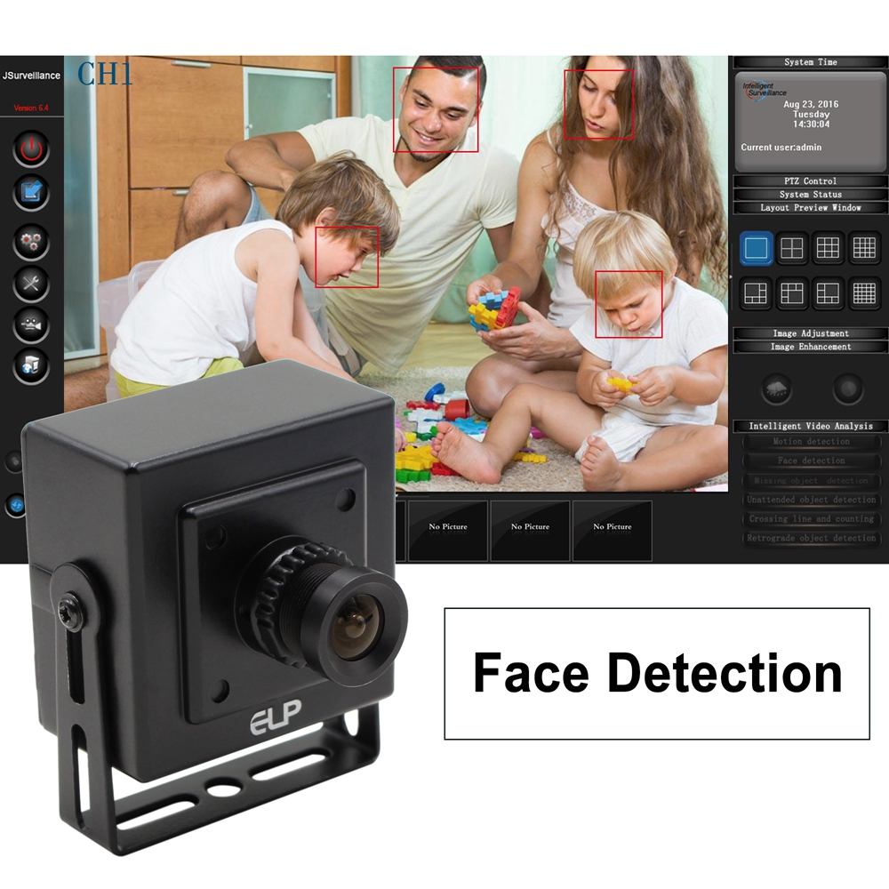 ELP Face Detection Cameras USB2.0 VGA 640x480 Mini Webcam Offer Professional Software for House Security, Baby Care