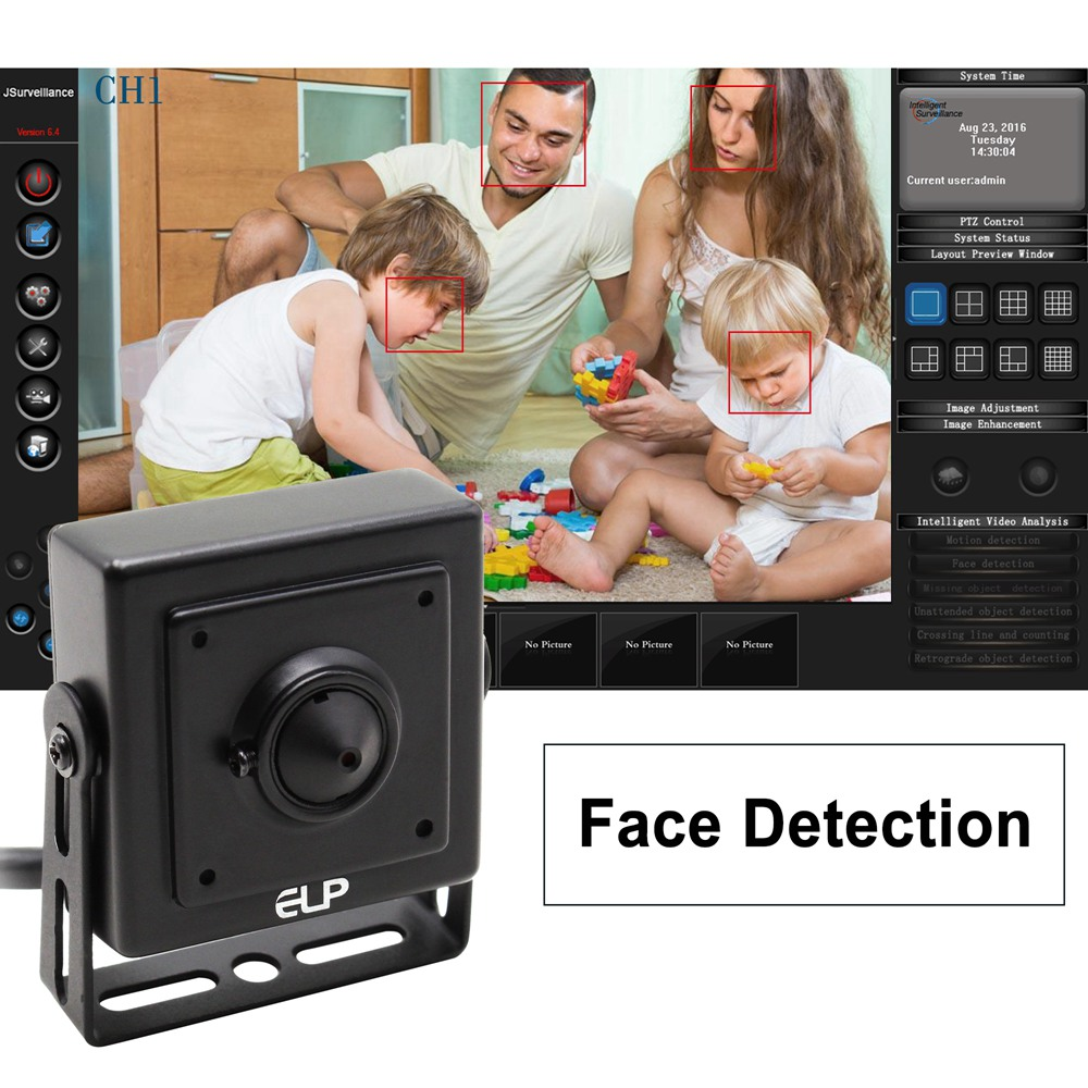 ELP Pinhole Mini USB Cameras Auto Face Detection Webcam Surveillance Home&Outdoor Security Camera 60fps VGA