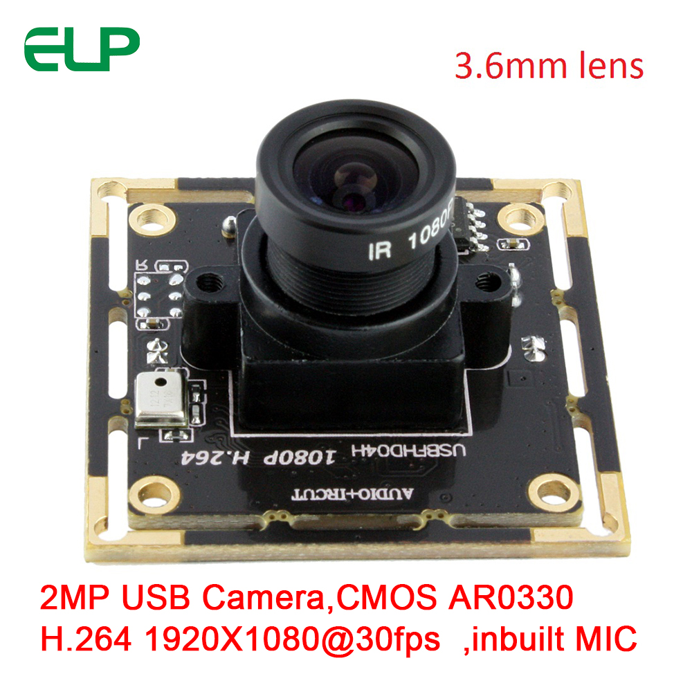 ELP 2MP 1080P CMOS AR0330 H.264 MJPEG YUY2 30fps UVC USB2.0 Android Linux Windows Driverless Embedded Camera Module MIC