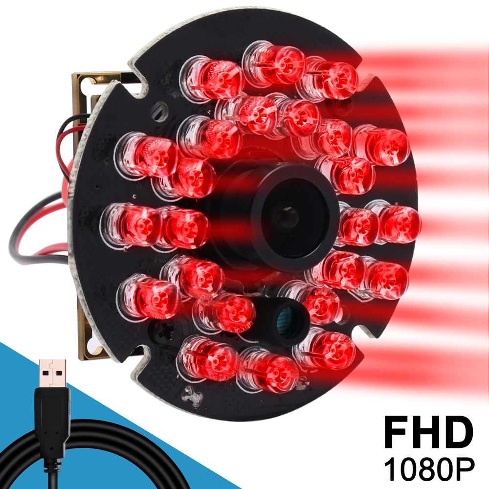 ELP Night Vision USB Camera With 24pcs IR LED,2.0 megapixel 1080P 30fps H.264 USB2.0 Interface,Support Microphone