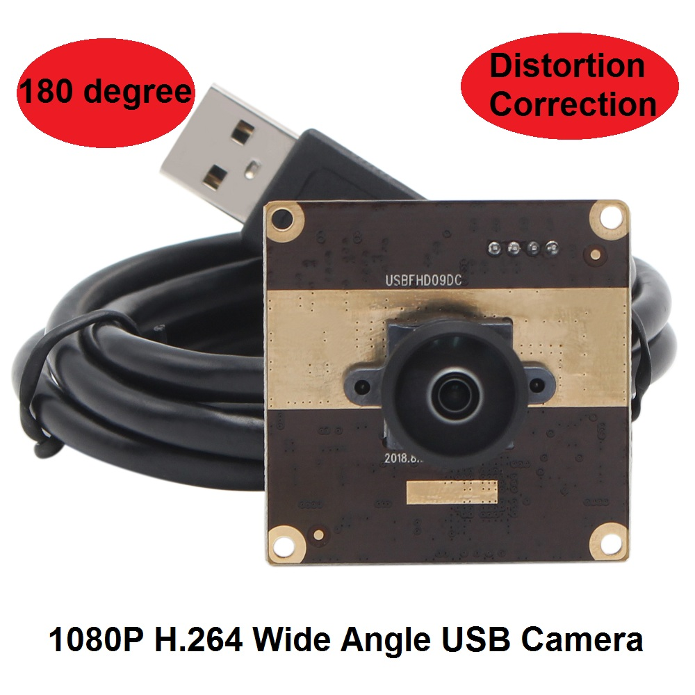 ELP 180 Degree Super Wide Angle Distortion Correction USB Webcam Camera Module 1080P UVC OTG USB 2.0 High Speed Webcam H.264 MJPEG