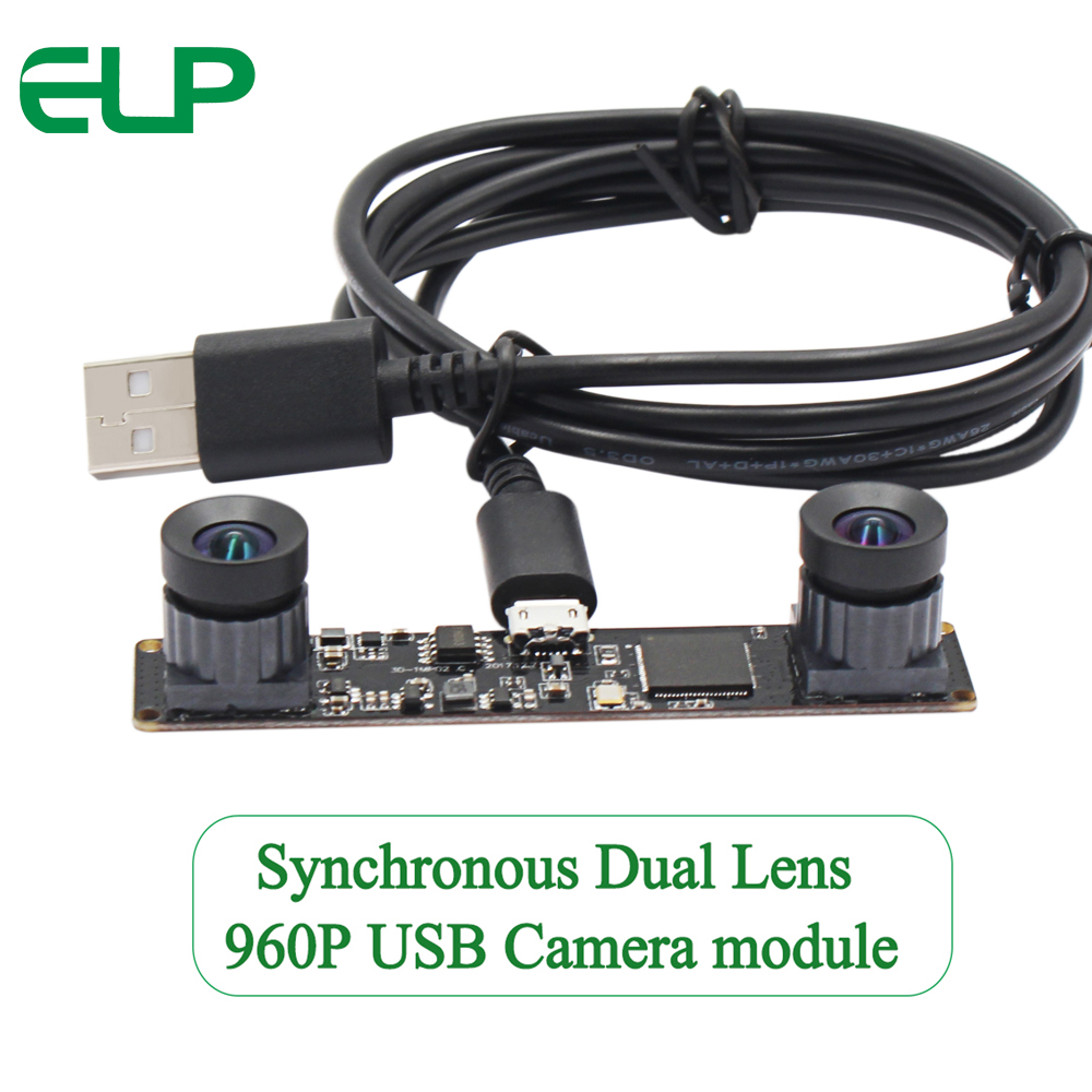 ELP Synchronous USB Stereo Camera module Double Undistortion Lens 960P OV9750 USB2.0 OTG Webcam Compatible with Windows Linux Android Mac