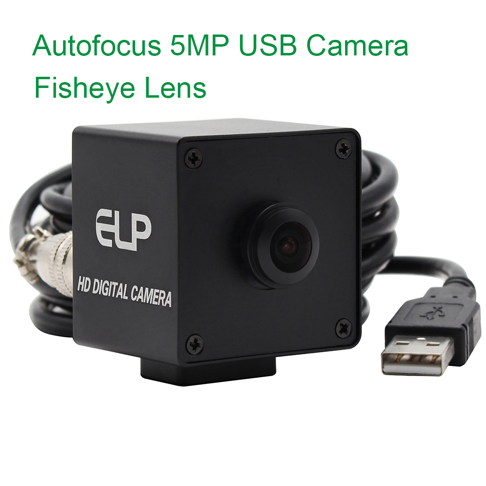 ELP 170 degree Fisheye Lens Wide Angle Webcam Mini 5mp Autofocus Cmos OV5640 Colour USB Camera (Black Box)