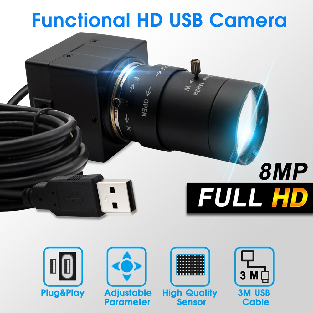 ELP 8MP 3264X2448 Sony IMX179 CCTV USB Camera 5-50mm Varifocal CS lens Hd USB Industrial Box Inside Surveillance USB Camera Webcam