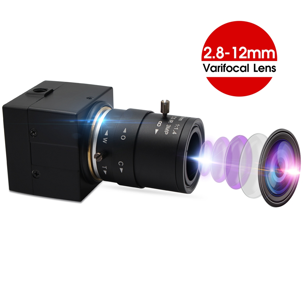 ELP 5MP High Resolution CMOS OV5640 Mini Varifocal 2.8-12mm lens UVC CCTV Industrial USB Webcam Camera for Video Conference