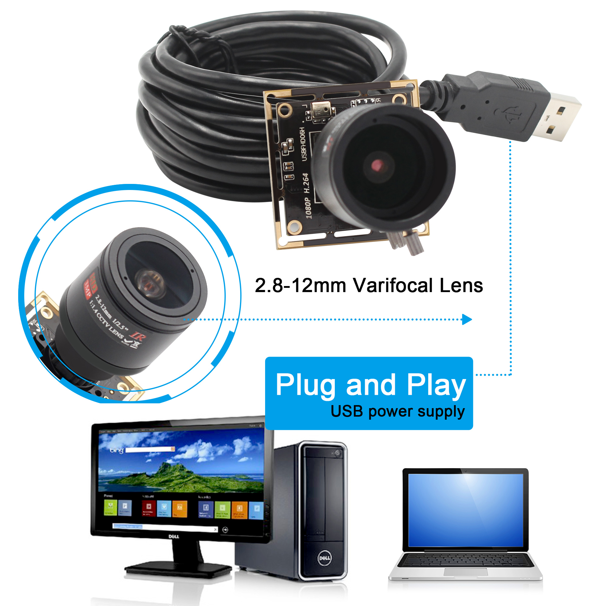 ELP Free Driver Full HD 1080P Sony Sensor M12 2.8-12mm varifocal lens usb camera