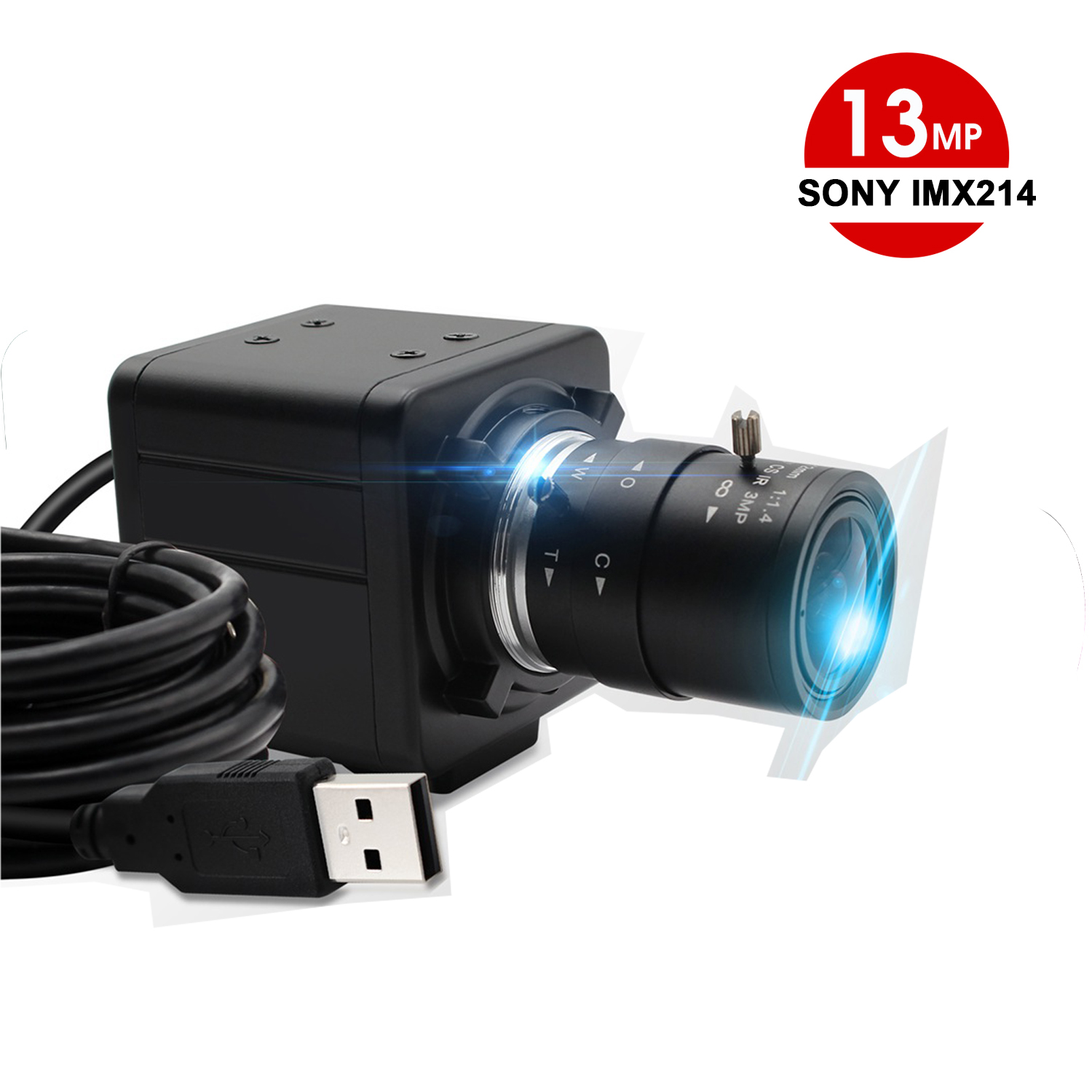 ELP Sony IMX214 Sensor 3840*2880 13MP Zoom Manual Focus Mini USB Camera with 2.8-12mm Varifocal lens