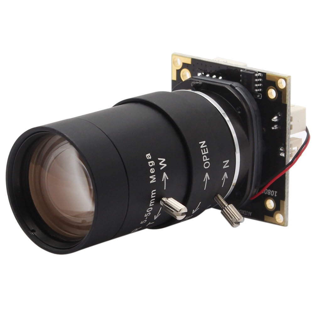 ELP Zoom Camera Module 10x 5-50mm Lens Inbuilt Microphone WDR 3MP H.264 1080P 30fps HD Webcam UVC Compatible with Windows ,Linux ,Android ,Mac OS