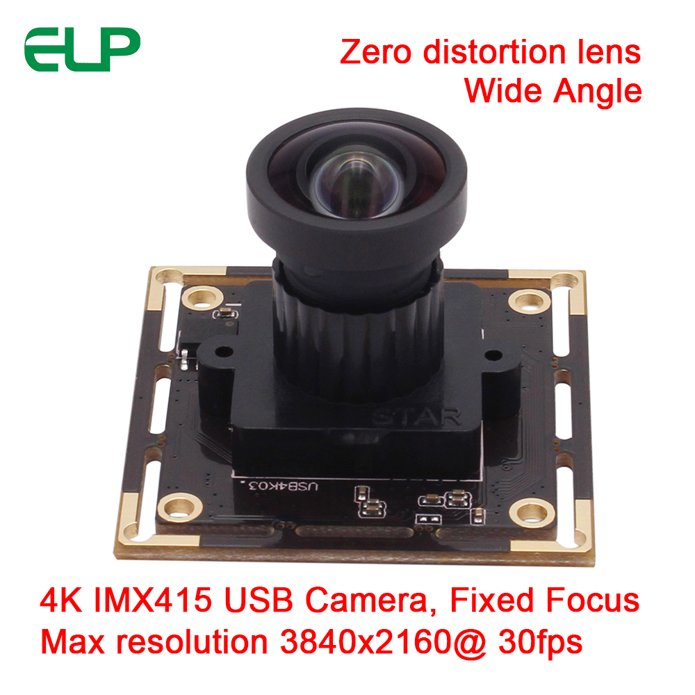 ELP Wide Angle 120 Degree None Distortion Lens 4K Sony IMX415 Color Sensor 3840x2160@30fps High Frame Rate USB Camera Module