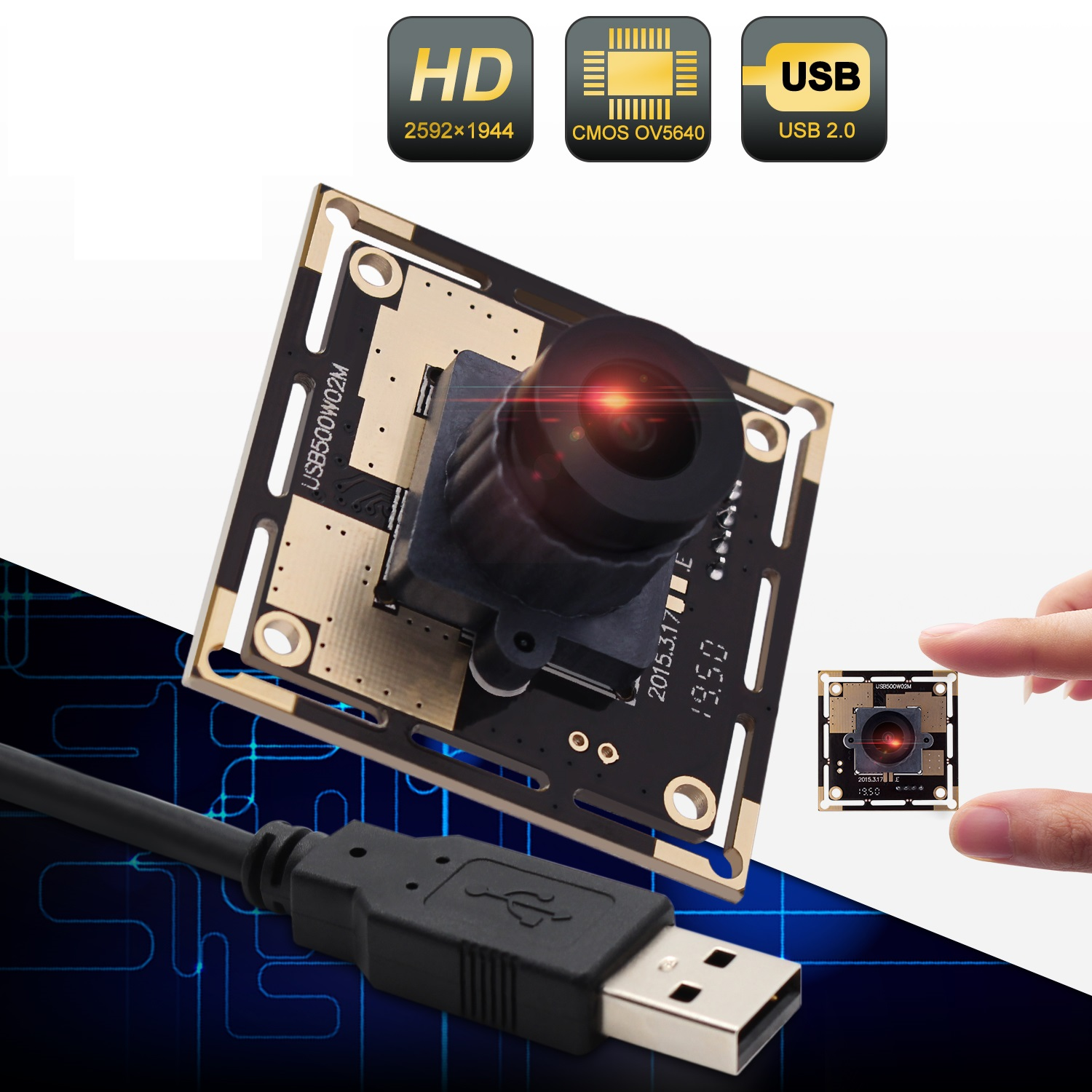 ELP 2.1mm Wide Angle 2592x1944 Resolution Industrial 5MP OV5640 Camera Module Driverless Embedded USB 2.0 Web Camera