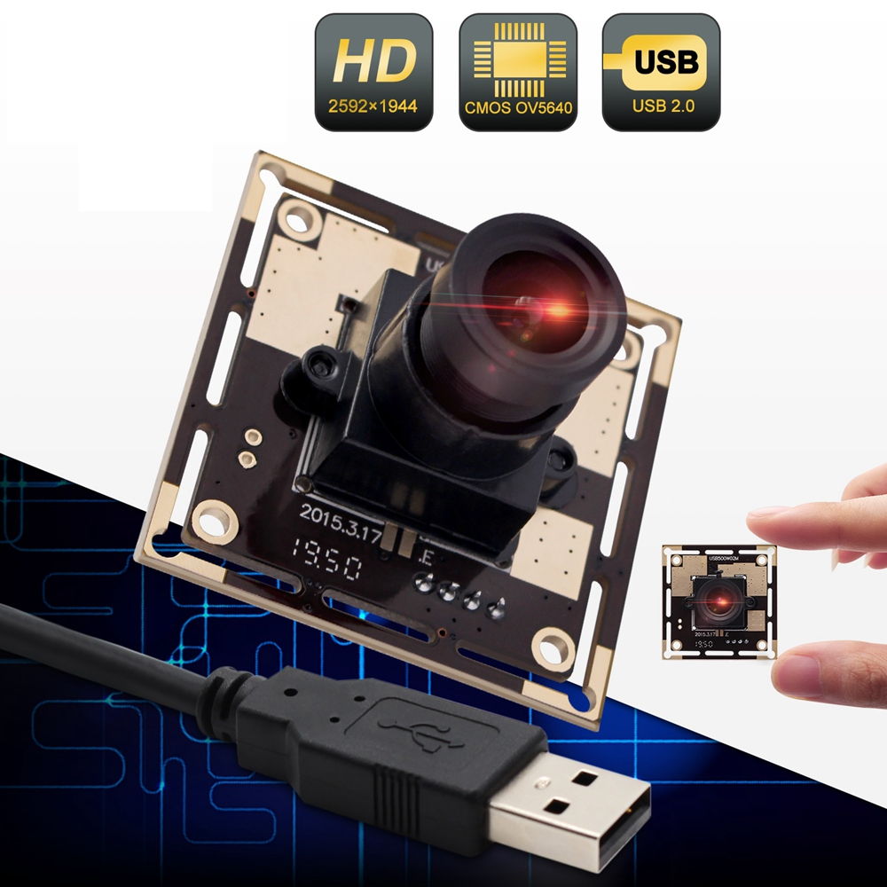 ELP OV5640 MJPEG/YUY2 2592X1944 5megapixel Industrial Vision HD USB Camera Module for Windows Linux Android System(3.6mm Lens )