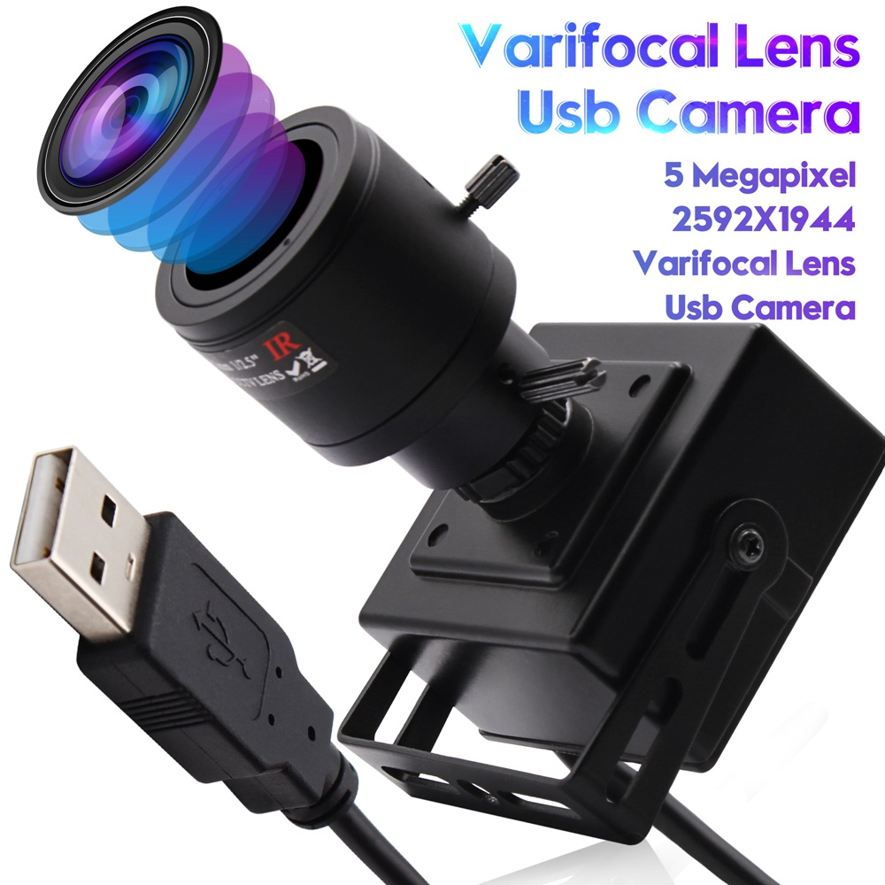 ELP 5Megapixels Aptian MI5100 Webcam Color CMOS Sesnor 2.8-12mm varifocal lens Manual Focus USB Camera With UVC Optical Zoom
