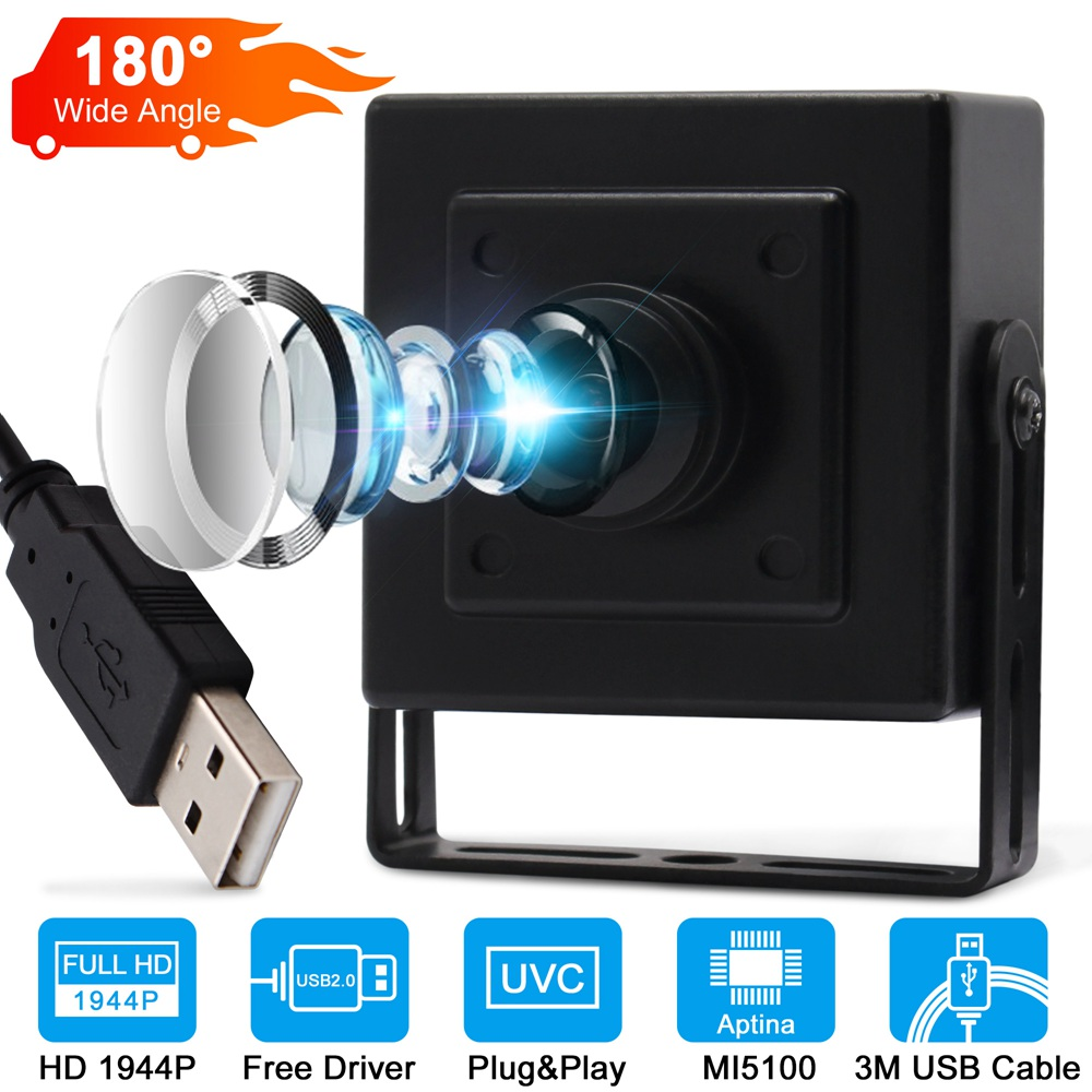 ELP 5Mega Pixels fisheye Lens Camera USB , free driver Aptina CMOS OTG USB2.0 Webcam for 360 panaramic surveillance