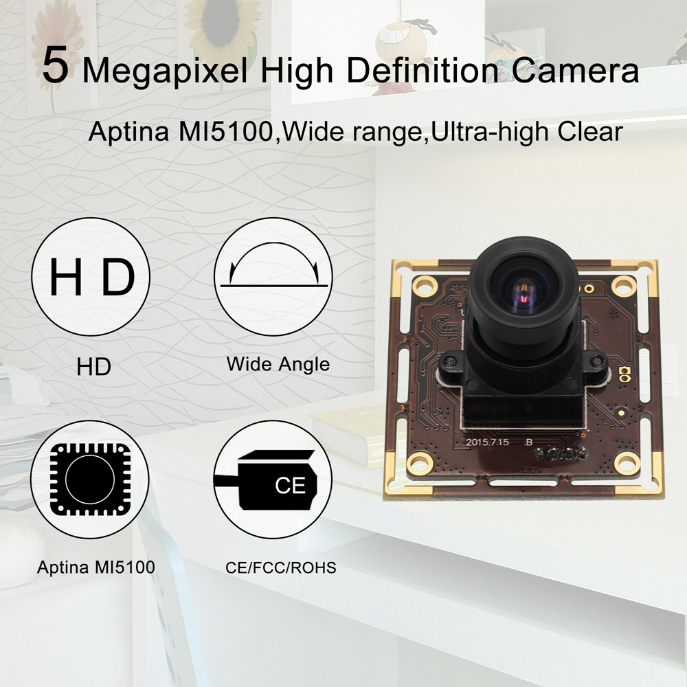 ELP 5MP 2.1 mm lens Wide Angle mini cmos OV5640 industrial usb camera module hd Free Driver,support OTG